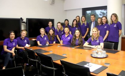 UQ journalism students bound for India meet Vice Chancellor Professor Peter Høj.